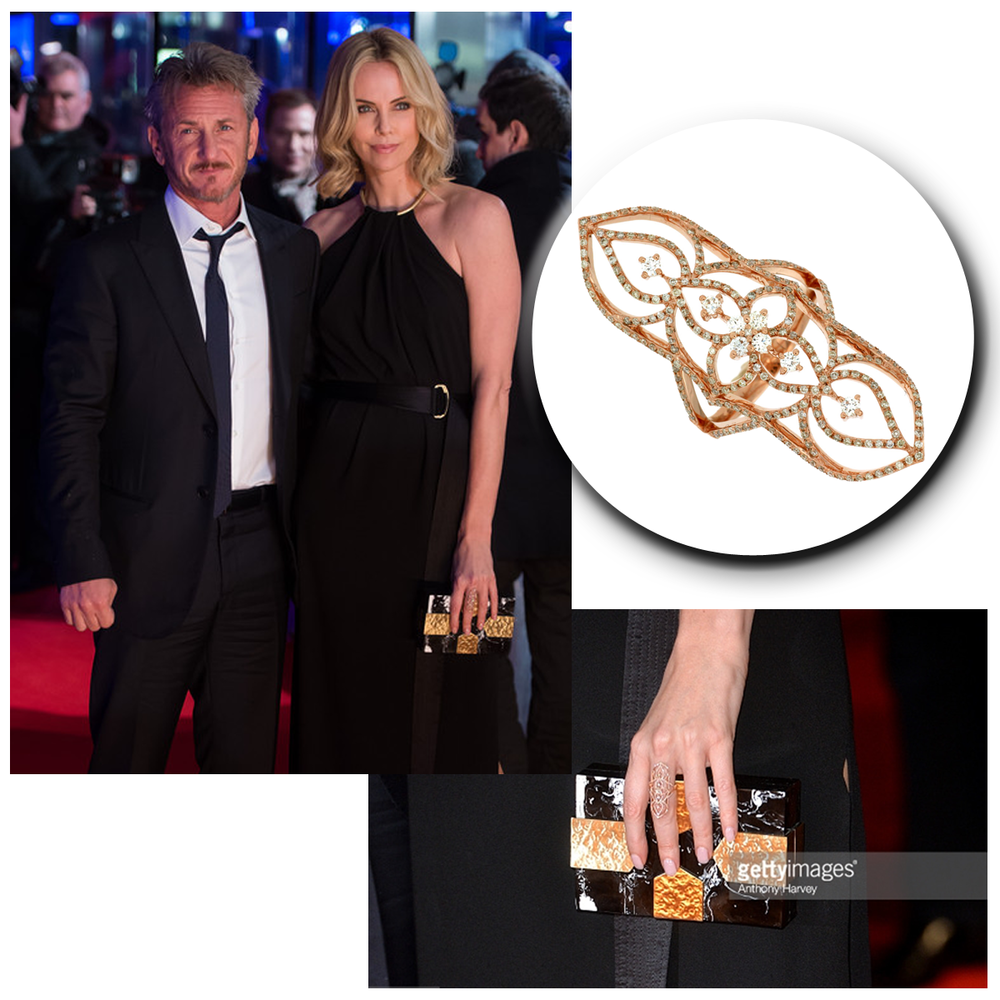 Blonde and beautiful, the ever so talented Charlize Theron, glitters in her gold Royal Jewelry statement ring.