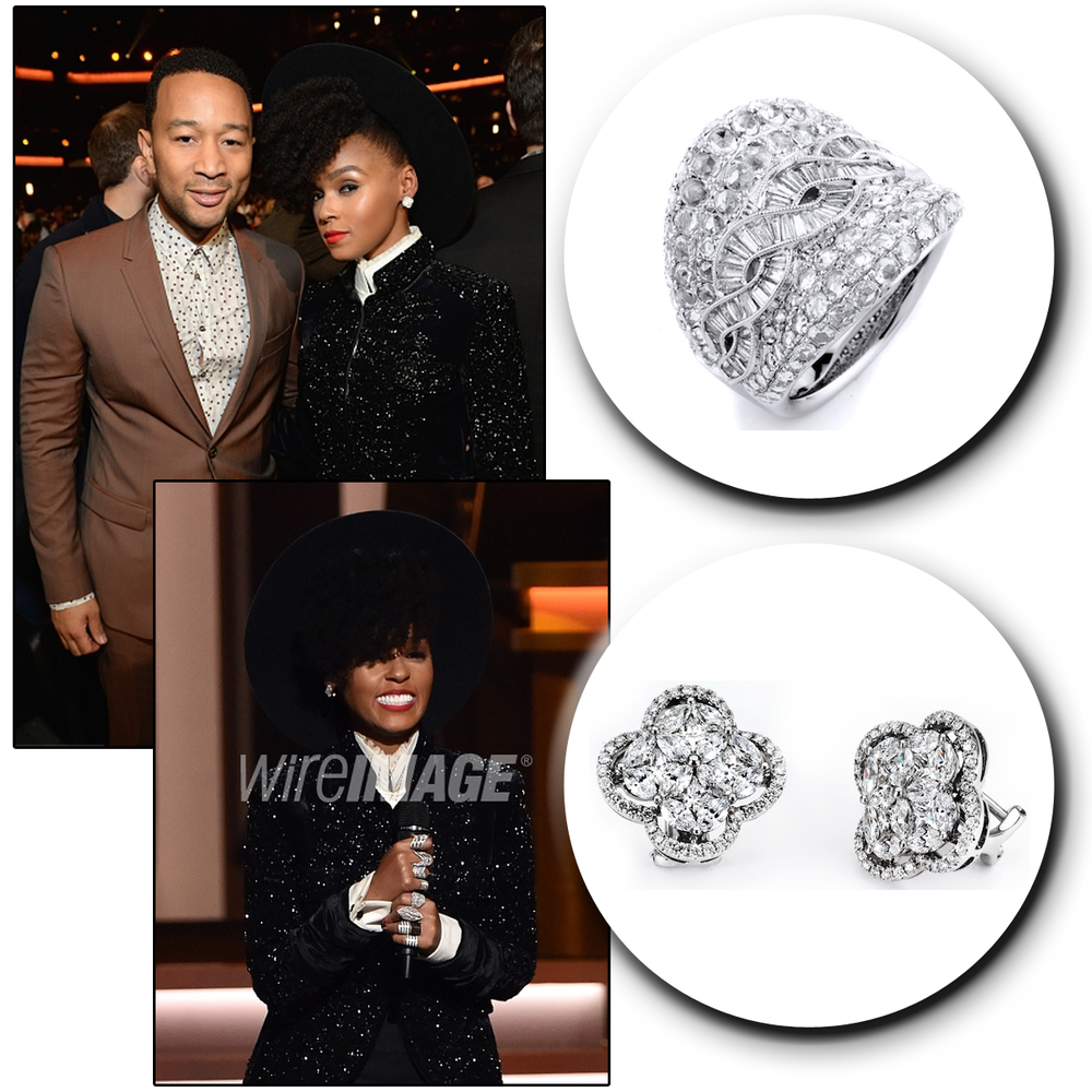 Diamonds on diamonds! Check out Janelle Monae in her sparkling Supreme Jewelry earrings & matching ring at the All-Star GRAMMY Salute to Stevie Wonder.