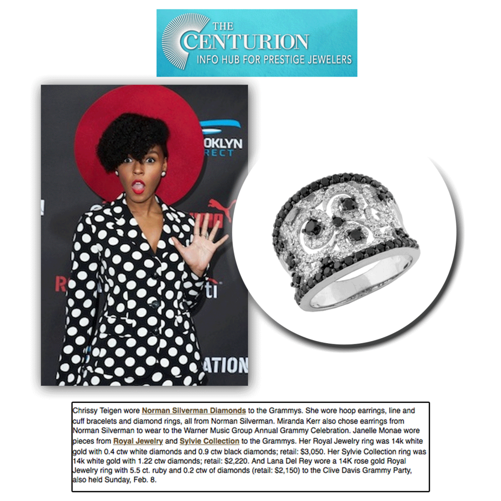 As stylish as ever, Janelle Monae glitters in her Royal Jewelry cocktail ring & a variety ofSylvie Collection fine jewelry pieces (above).