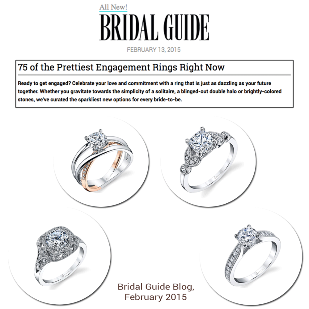 As pretty as can be! Thank you Bridal Guide for featuring various Sylvie Collection diamond engagement rings on your blog.