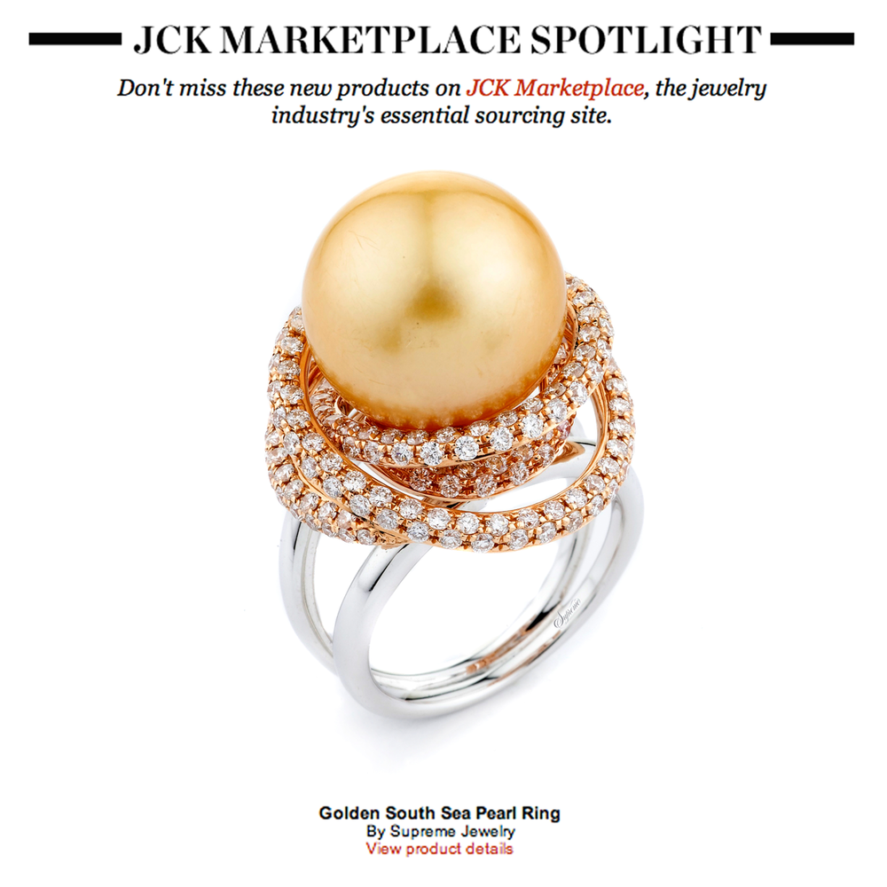 "With the world as an oyster, Supreme Jewelry's ring is the pearl! How glamorous is this fashion ring in ""JCK Marketplace's Spotlight?"""