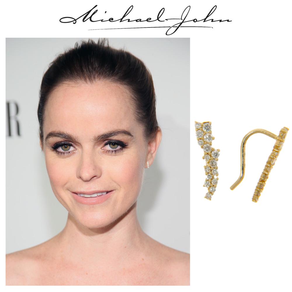 Simple, yet beautiful! Taryn Manning rocks these stylish yellow gold and diamond Michael John Jewelry earrings.