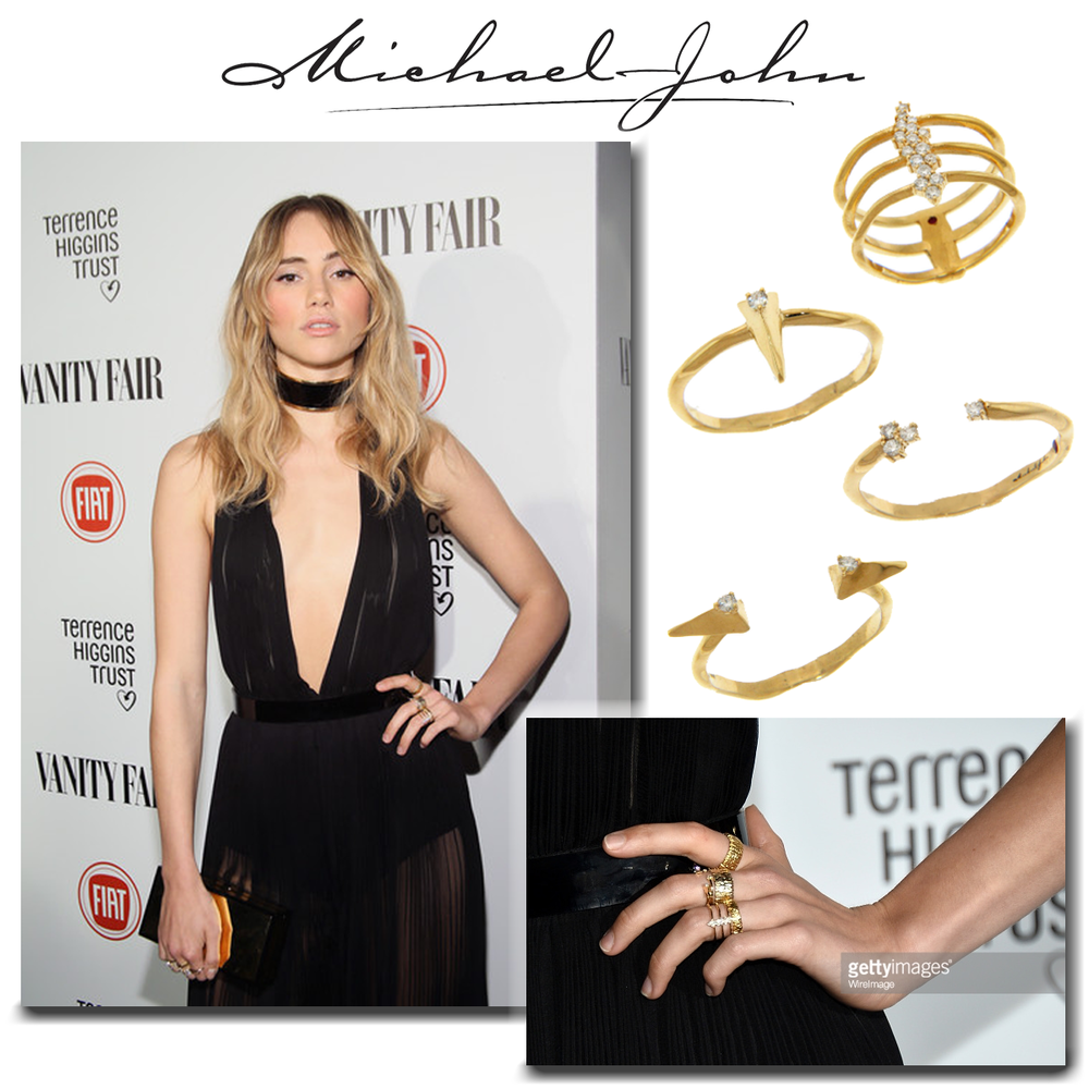 Gorgeous in gold! Suki Waterhouse graces the red carpet in these stackable Michael John Jewelry stylish rings.