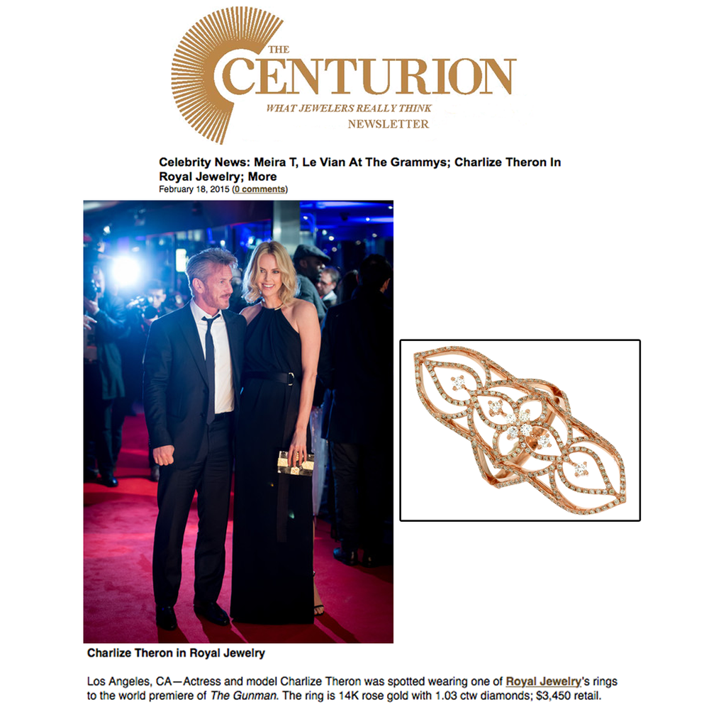 Check out this lovely lady in black! Charlize Theron glistens on the red carpet in this gorgeous Royal Jewelry fashion ring. Thank you The Centurion Newsletter for featuring.