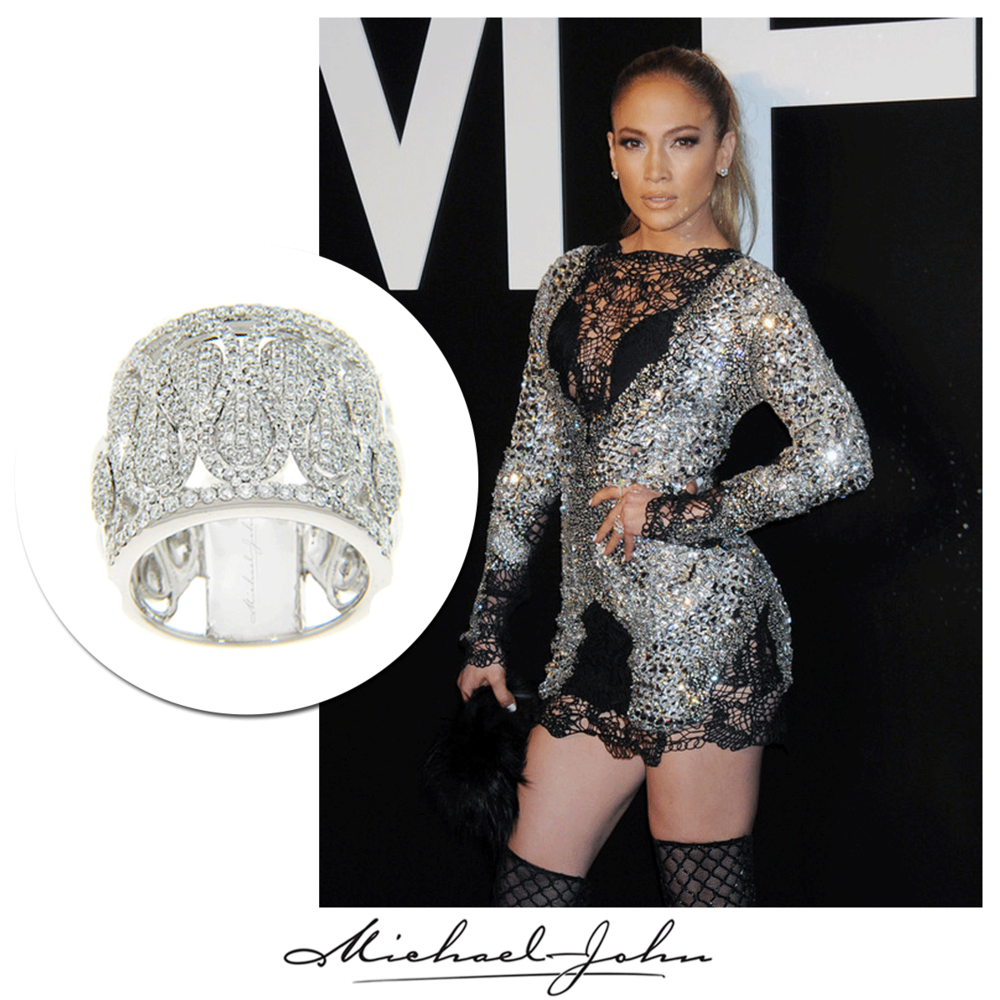 The beauty queen, J-Lo, made jaws drop in an exclusively designed corset with a matching Michael John Jewelry ring at the Tom Ford Fashion Show!