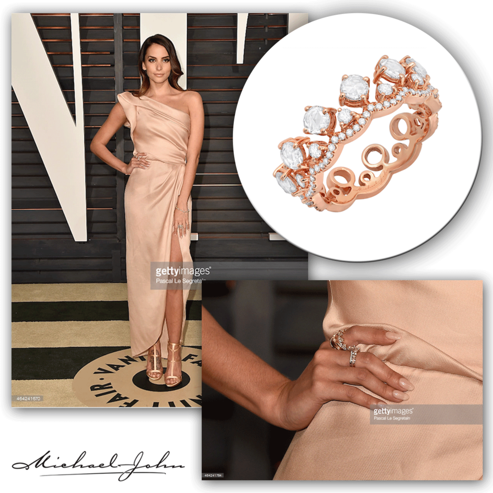Bombshell of a beauty! Genesis Rodriguez elegantly graces the Oscar's Vanity Fair after party  in a rose gold & diamond Michael John Jewelry ring.
