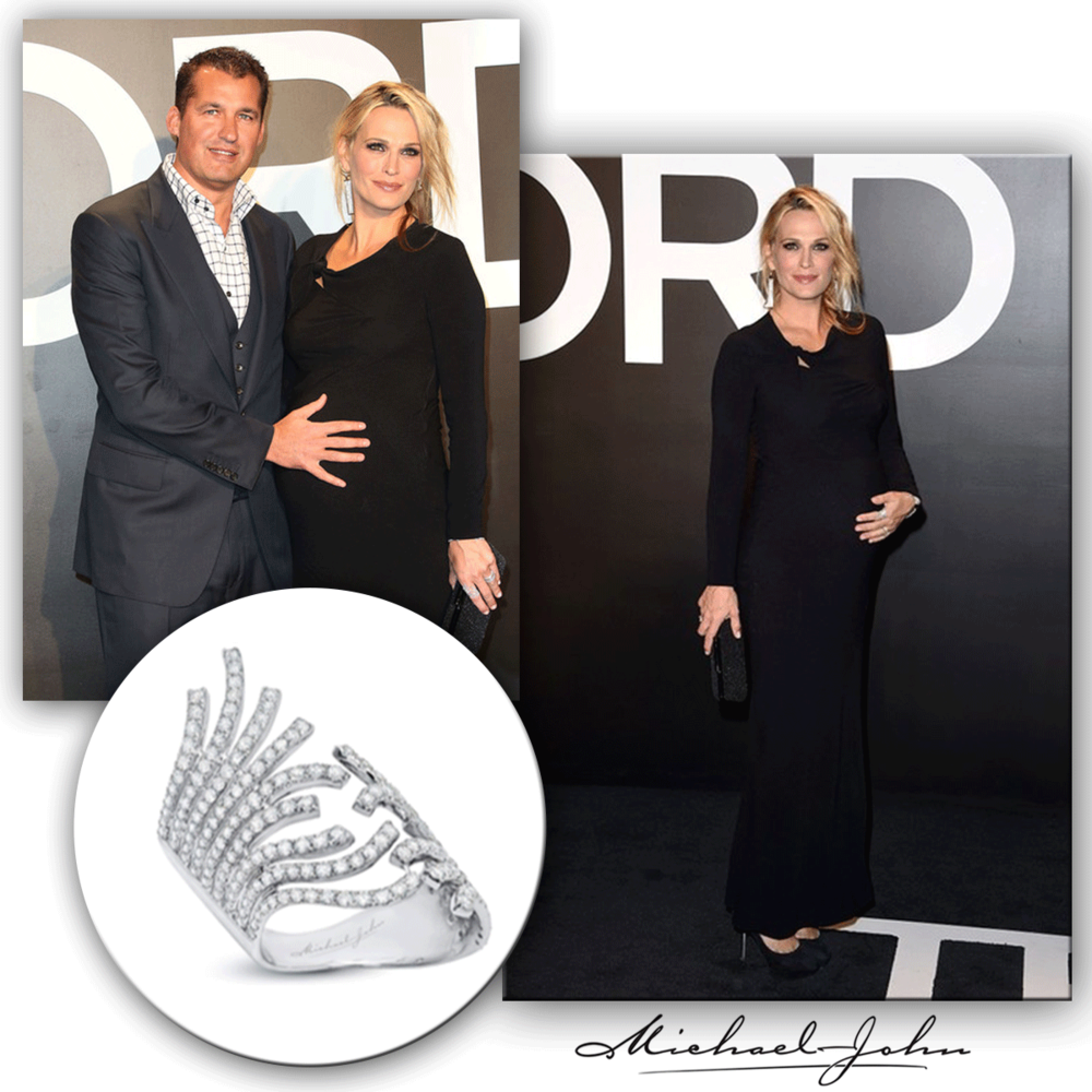 The ever so beautiful pregnant woman! Molly Sims accessorizes for the Tom Ford Fashion Show with a diamond pave Michael John Jewelry ring.
