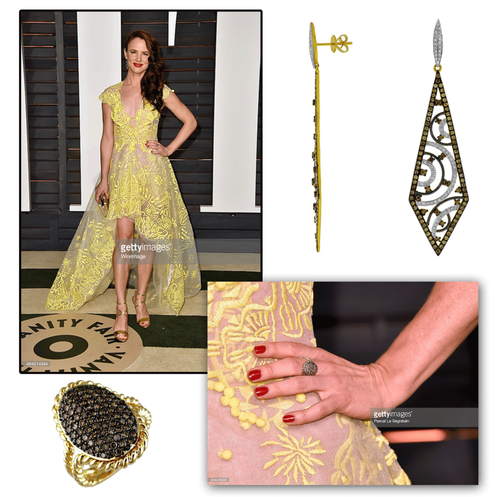 A beautiful ray of sunshine! Juliette Lewis had all eyes on her at the Oscar's Vanity Fair after party in her Royal Jewelry earrings & matching ring!