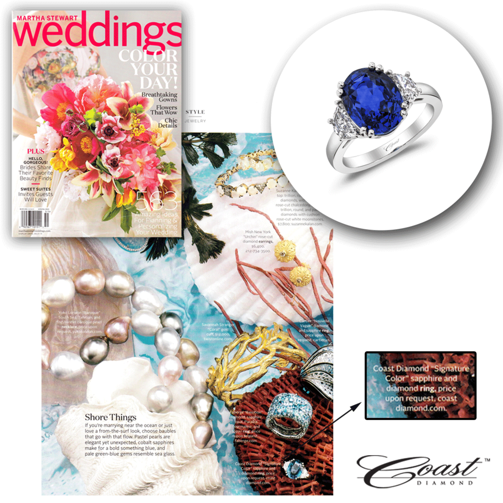 Thank you Martha Stewart Weddings for featuring this stunning sapphire and diamond ring from Coast Diamond's Signature Color collection!