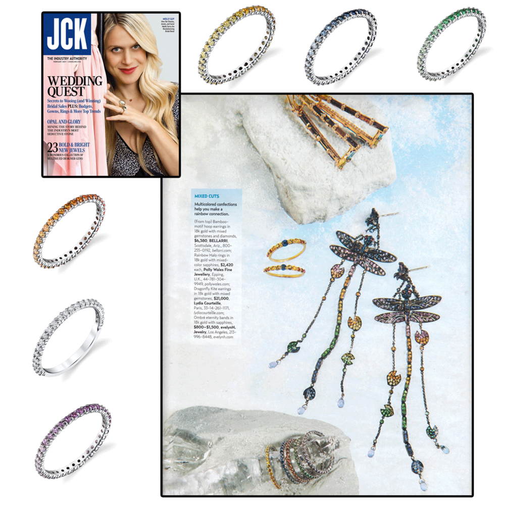 We love JCK Magazine for sprinkling some color with these gorgeous and vibrant Evelyn H diamond bands.