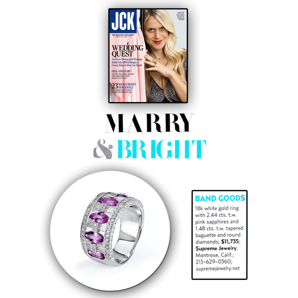 Pretty in pink! Thank you JCK Marketplace for featuring this beautiful Supreme Jewelry ring.