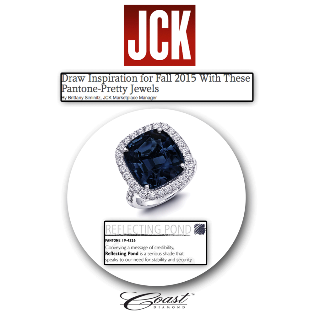 Simply beautiful! Thank you JCK Marketplace for featuring Coast Diamond's engagement ring set with a blue sapphire center stone & sparkled to perfection with a circle of diamonds.