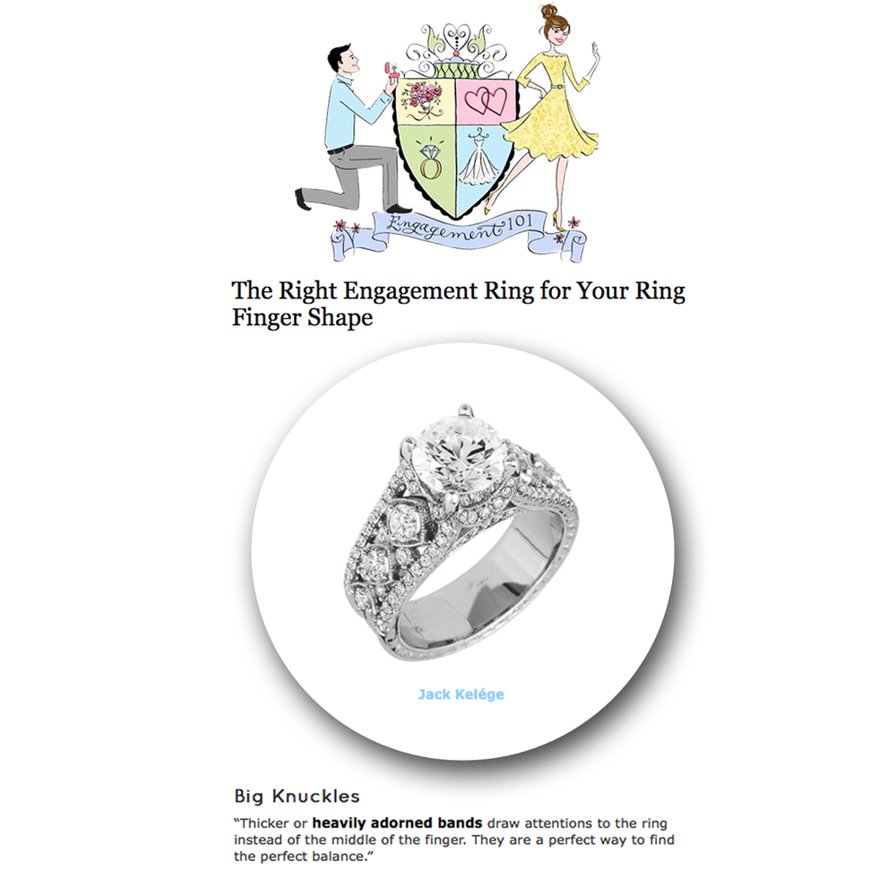 It's all about the big & the bold! Thank you Engagement 101 for featuring these unique fine jewelry rings: Sylvie Collection (above), Jack Kelege, and Coast Diamond (below).
