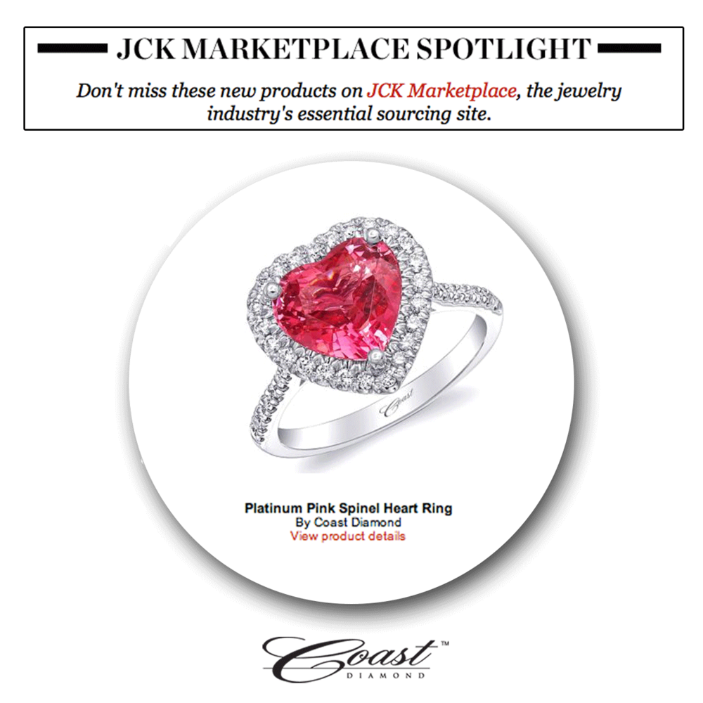 Love is in the air! Thank you JCK Marketplace for featuring Coast Diamond's platinum pink spinel heart ring.