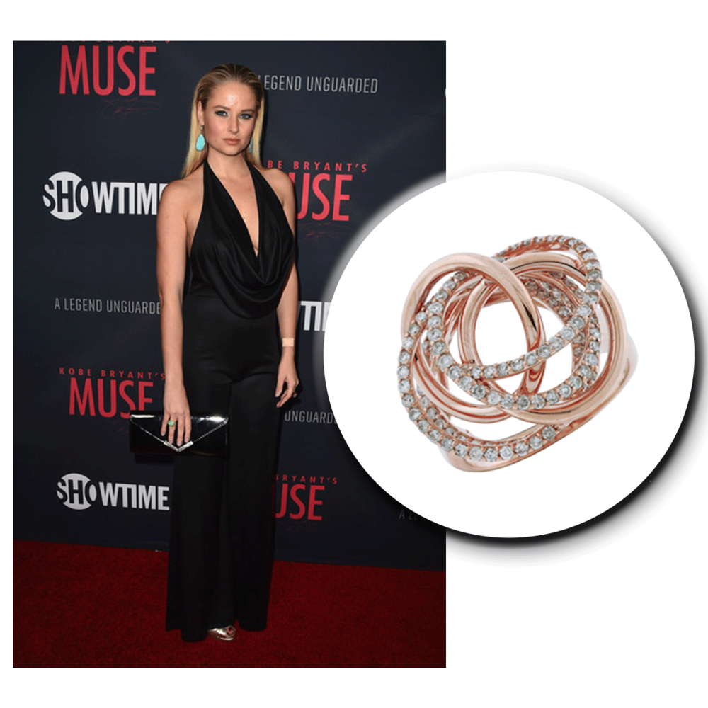 Genevieve Morton stuns the red carpet in her classy & chic look, accessorized with a rose gold & diamond Royal Jewelry ring.