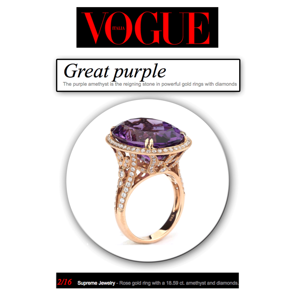 Pretty in purple! Thank you Vogue Italia for featuring these stunning rose gold rings, Supreme Jewelry & Sylvie Collection (below), each set with a prominent amethyst center stone.