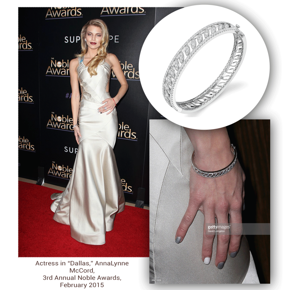 A true beauty! The one, the only AnnaLynne McCord gives the red carpet a run for its money in her gorgeous fine jewelry: Sylvie Collection diamond bangle & Supreme Jewelry white gold and diamond ring (below).