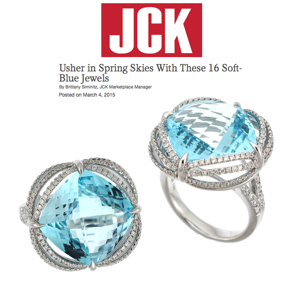 Oh so blue and beautiful! Thank you JCK Marketplace for featuring these radiant aquamarine and diamond Supreme Jewelry statement rings!