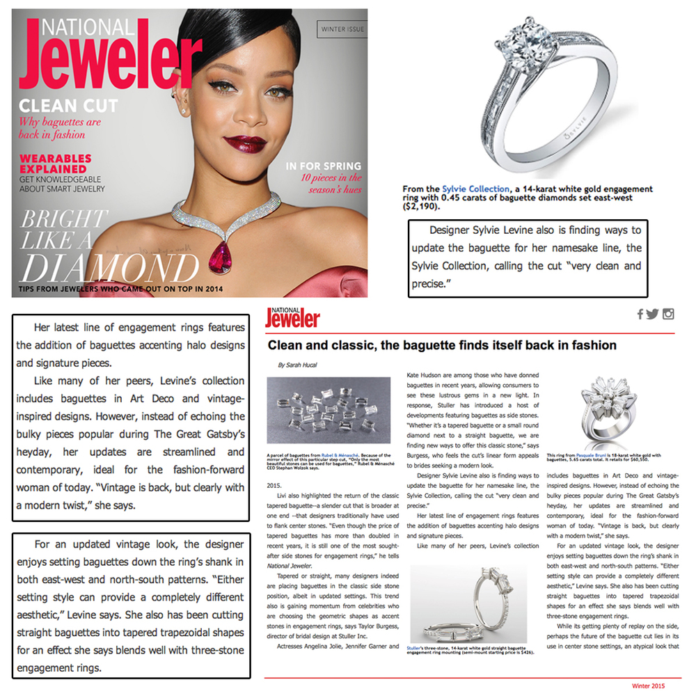Baguettes are back in action! Thank you National Jeweler for featuring wise words from Sylvie Levine, accompanied by a beautiful white gold and diamond Sylvie Collection ring!