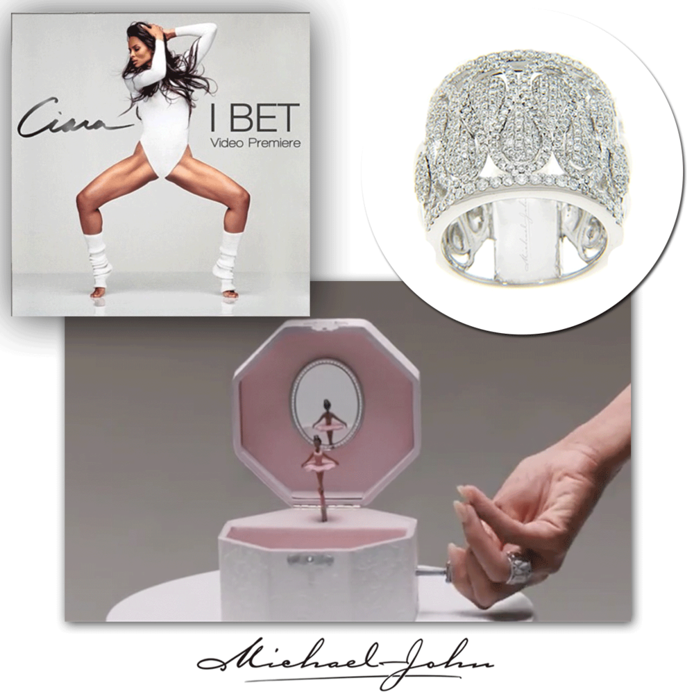"""Hip-hop/R&B queen, Ciara, radiates in her brand new video premiere """"I Bet"""" in a beautiful Michael John Jewelry white gold and diamond ring."""