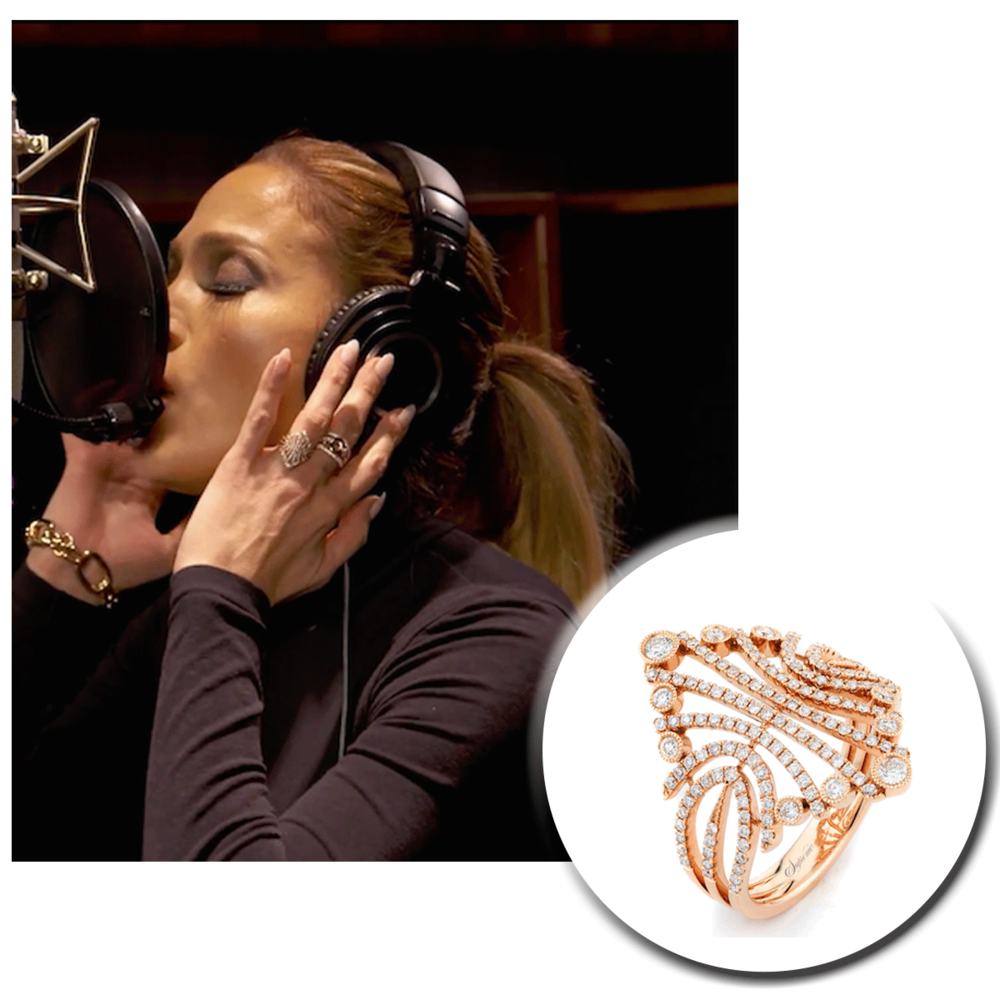 Jennifer Lopez (J-Lo) does it again! Even as she records her new single, she sparkles in a rose gold Supreme Jewelry ring sprinkled with diamonds.