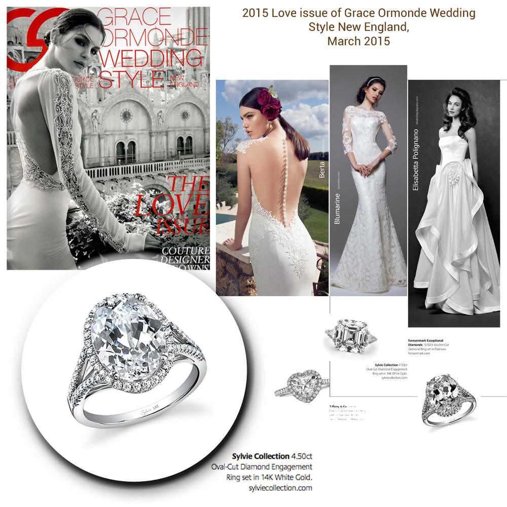 Talk about the perfect engagement ring & wedding dress! Thank you Grace Ormonde Wedding Style New England for featuring Sylvie Collection's sparkling white gold and diamond ring.