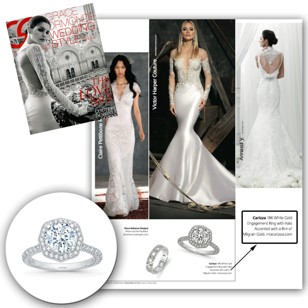 Oh so elegant, oh so sleek! Thank you Grace Ormonde Wedding Style New England for featuring Carizza's sparkling octagon-shaped diamond ring.
