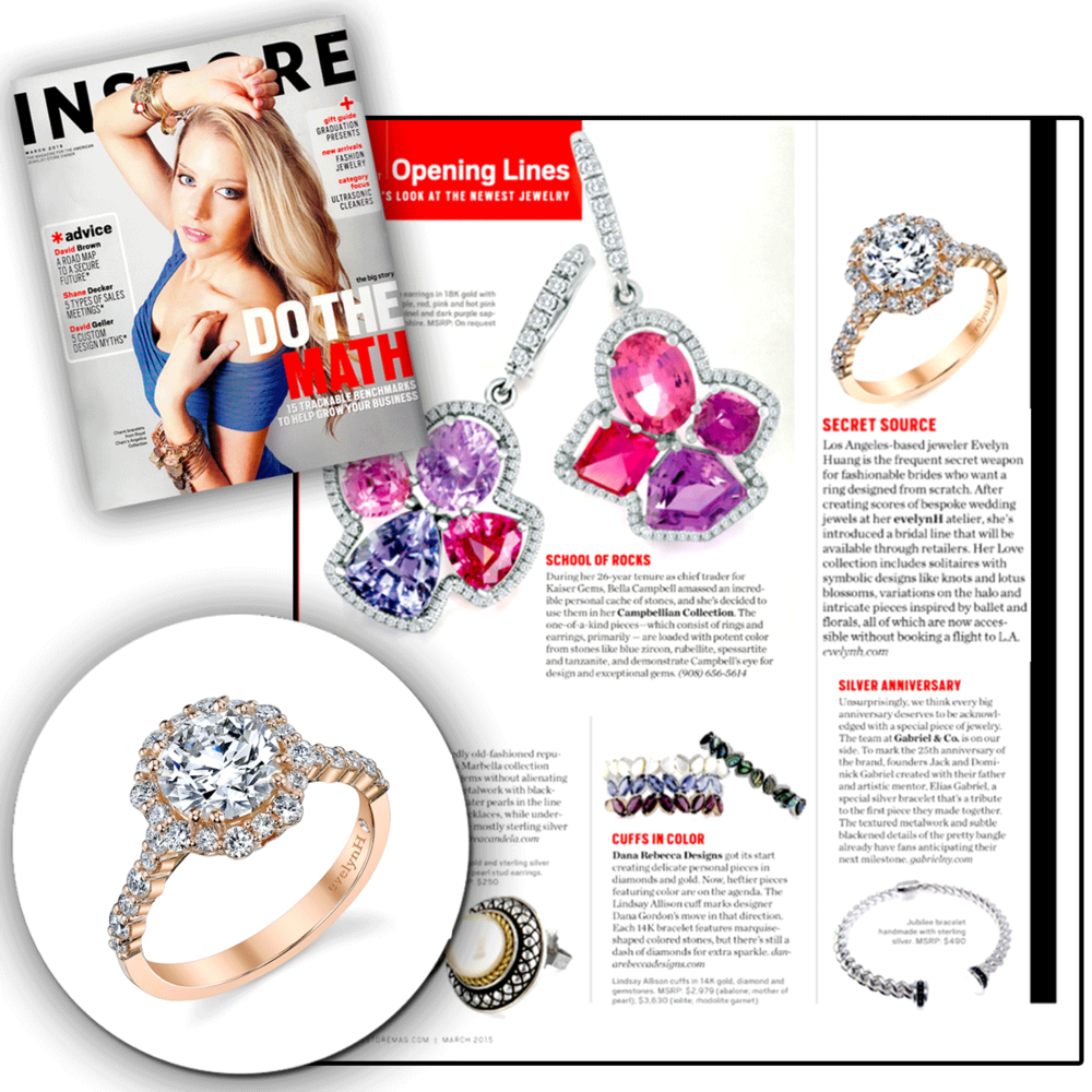 Gorgeous in rose gold! Thank you INSTORE for featuring Evelyn H'sdazzling halo-shaped ring, accented with diamonds.