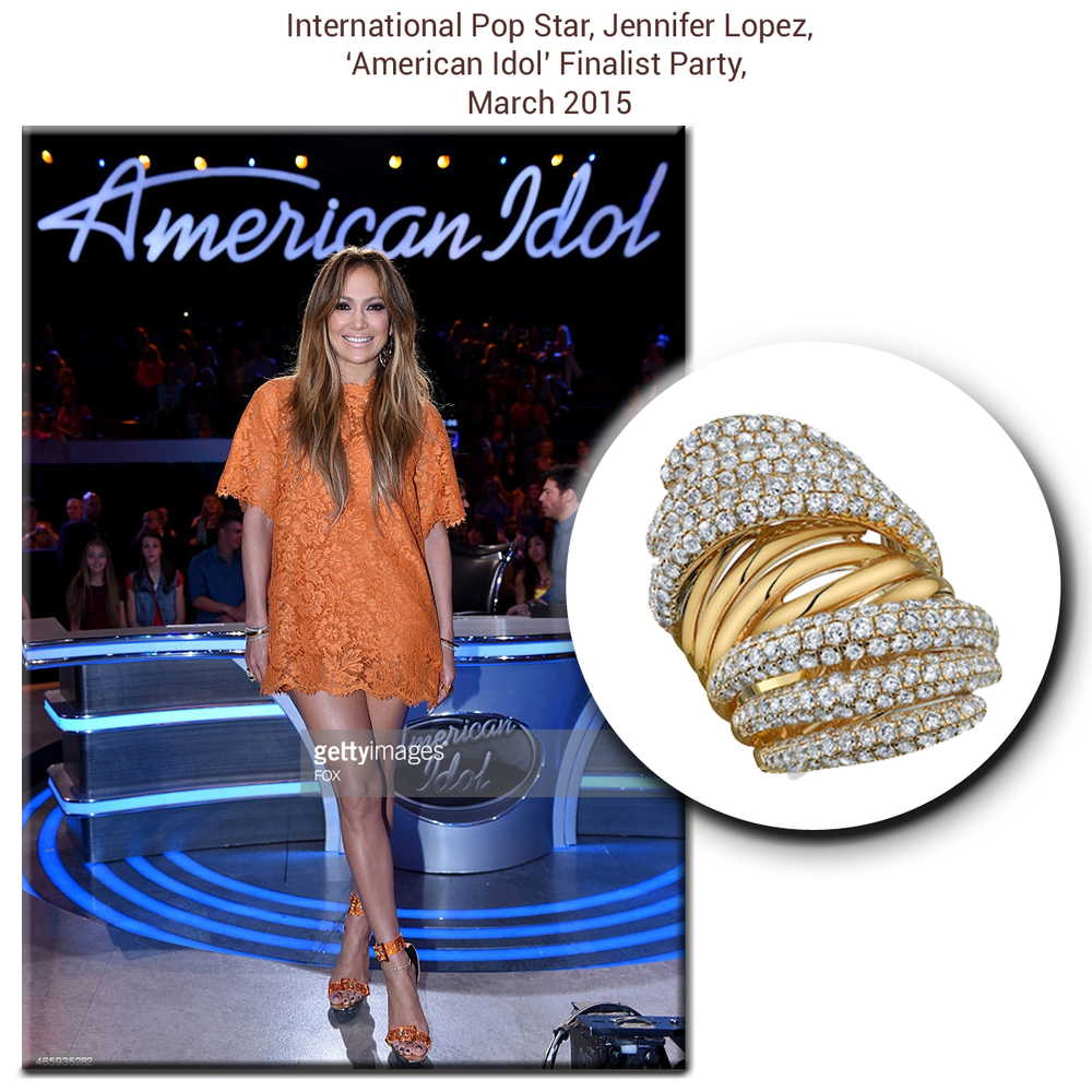 As usual, J-Lo looks absolutely radiant on the American Idol set in this dazzling goldSylvie Collection ring with pave diamonds!