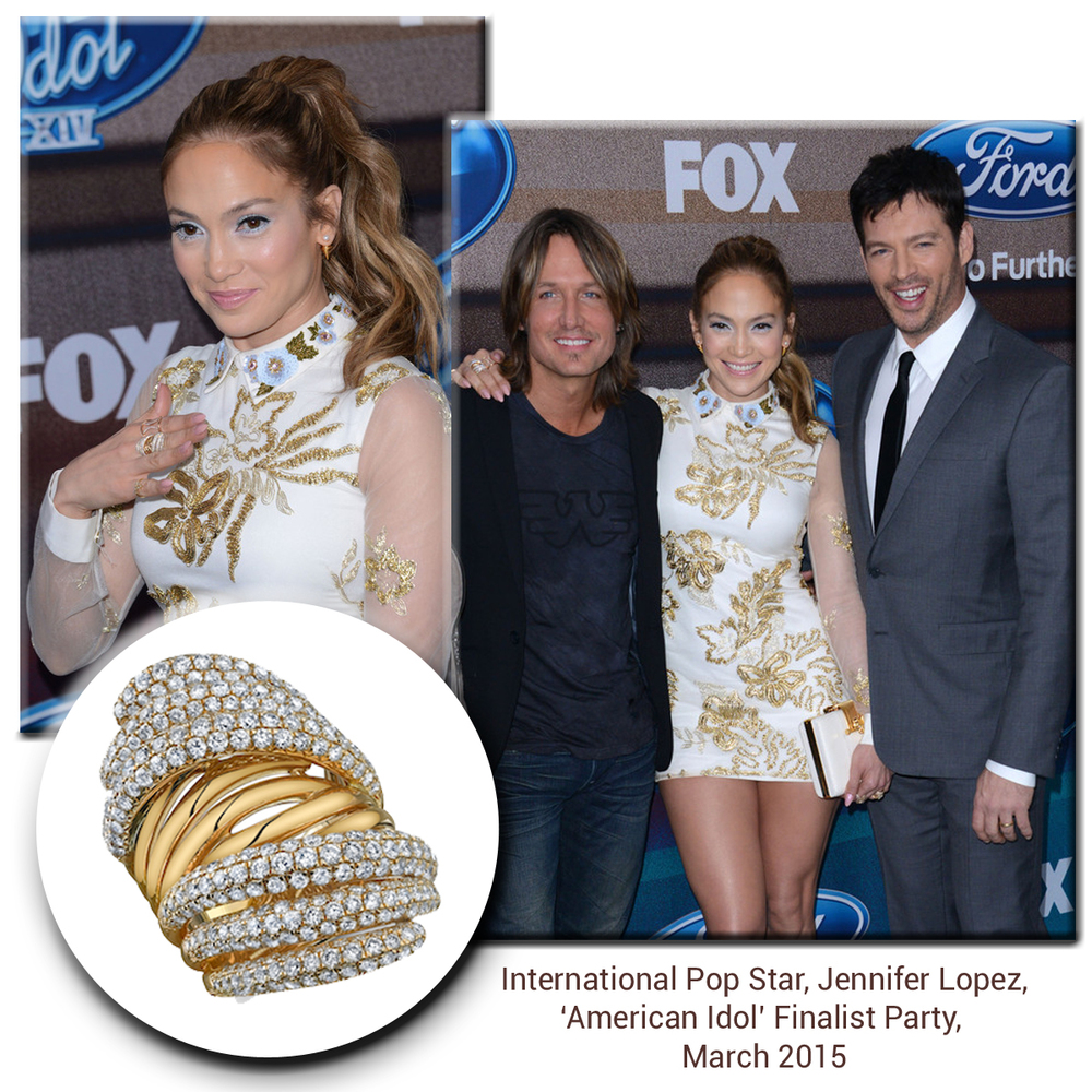 International Pop Star, Jennifer Lopez, glistens in her stylish dress with amatchingSylvie Collection gold and diamond ring!