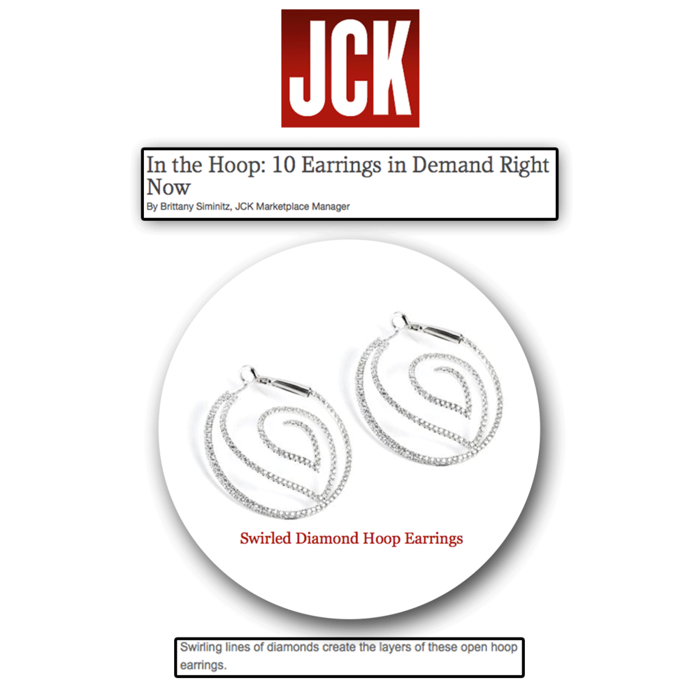 Swirling with diamonds! Thank you JCK Marketplace for featuring these gorgeous Supreme Jewelryopen hoop diamond earrings.