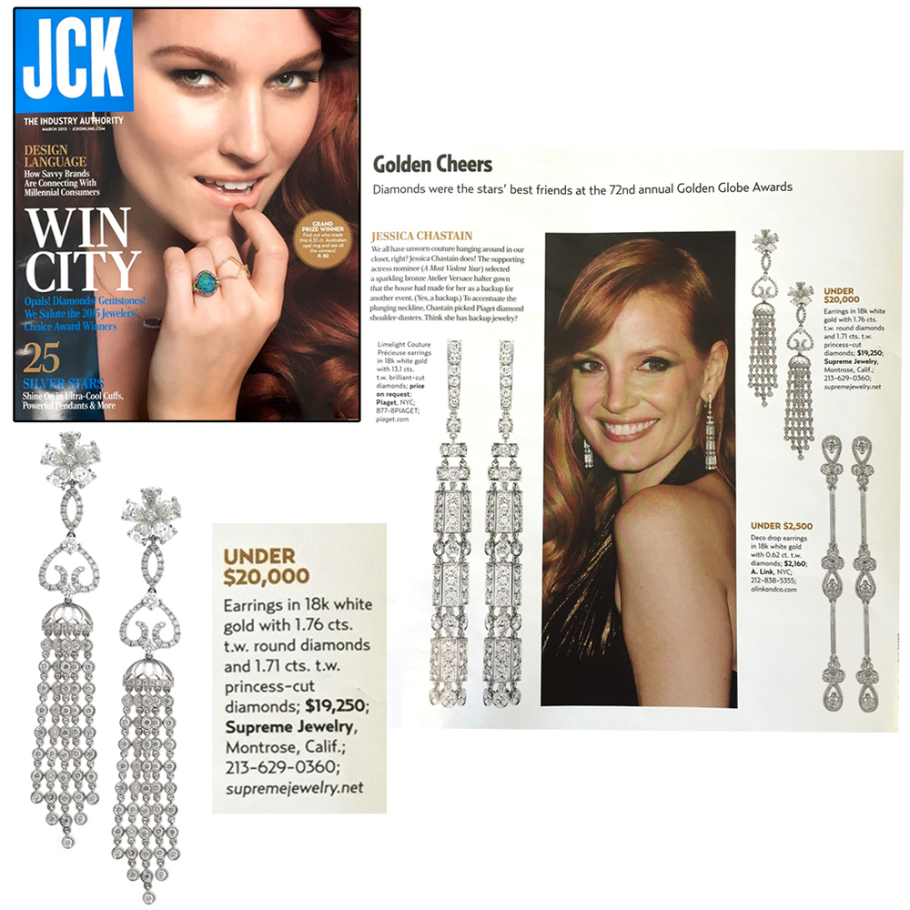 Oh so dreamy! Thank you JCK Magazine for featuring Supreme Jewelry's one-of-a-kind white gold & princess cut diamond earrings!