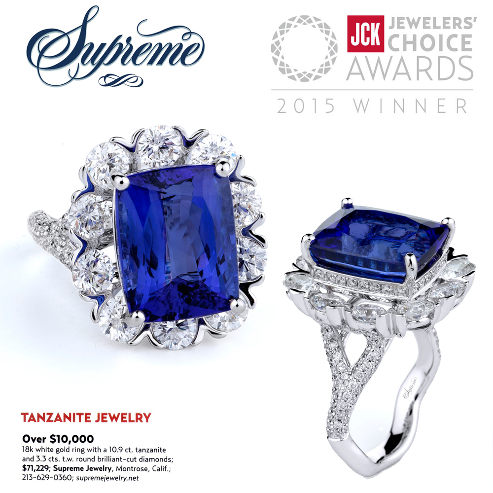 Big, bold & blue! Thank you JCK Magazine for featuring Supreme Jewelry's absolutely radiant sapphire and diamond ring!