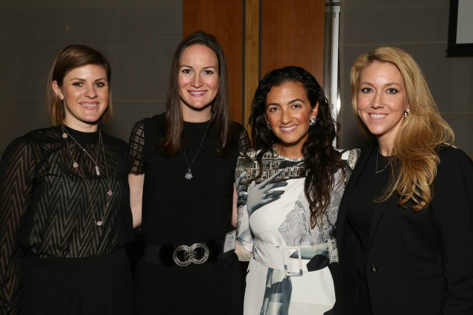 All smiles, Jen Cullen Williams of Luxury Brand Group and Amanda Gizzi of Jewelers of America pose with Jennifer Hyman of Rent the Runway and Shelly Schulz of Synchrony Financial post Q&A session.
