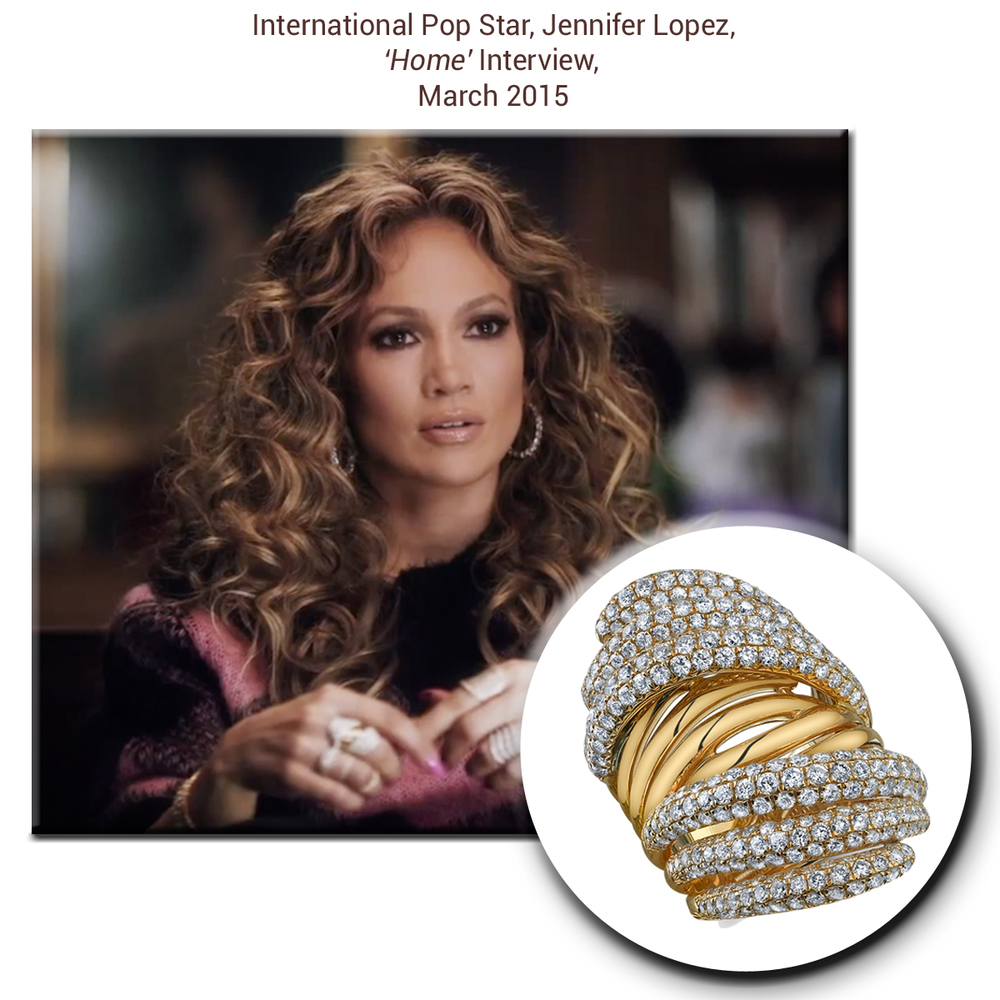 As beautiful as ever, Jennifer Lopez (J-LO)radiates at her interview in a Sylvie Collection fashion ring sprinkled with gorgeous diamonds!