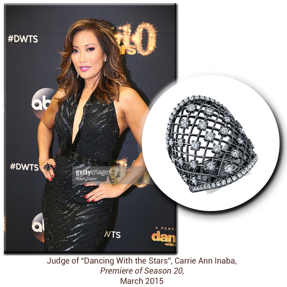 Lovely lady in black! Carrie Ann Inaba sparkles on the red carpet in a stylish black rhodium & diamond Sylvie Collection ring!