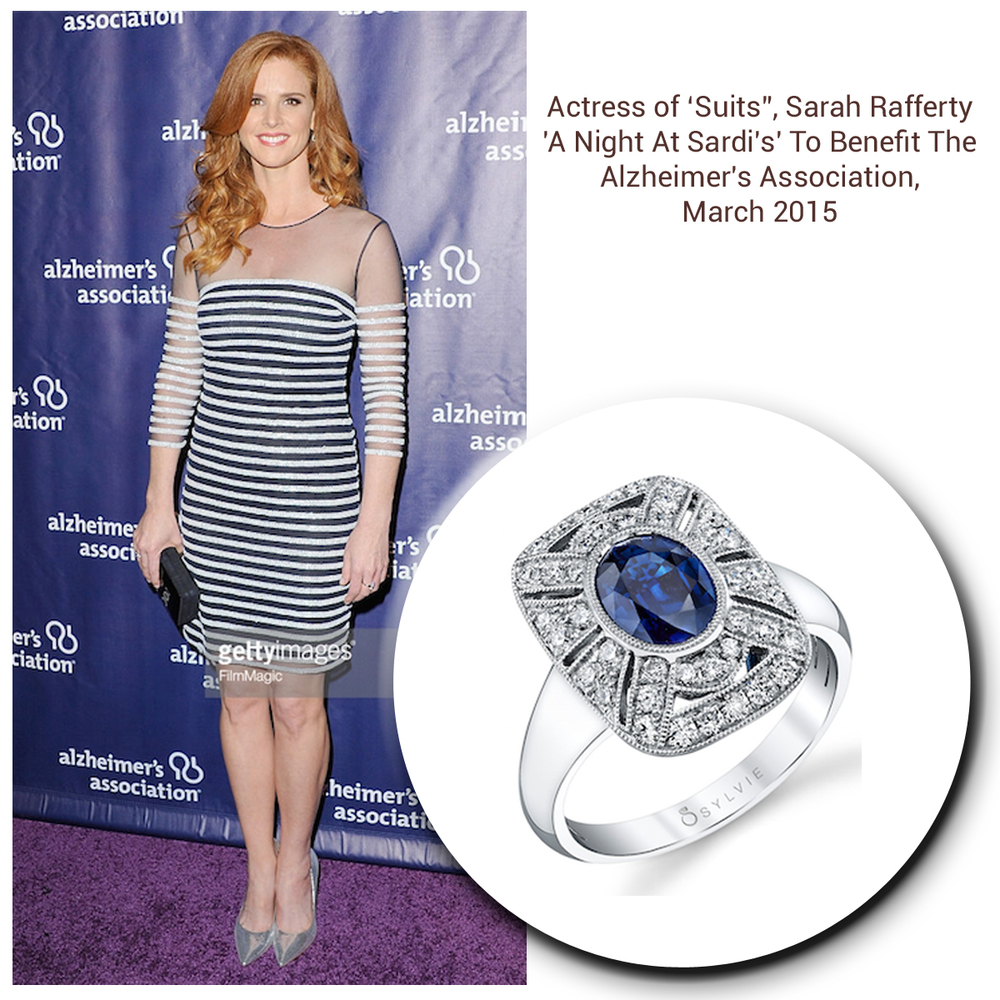 As radiant as can be, Sarah Rafferty glistens in a Sylvie Collection ring & matching Royal Jewelry earrings (below).