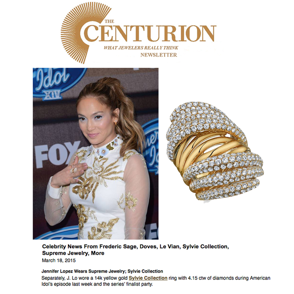 Lovely lady in white! Thank you Centurion Newsletter for featuring J-LOwearing a dazzling Sylvie Collection ring.