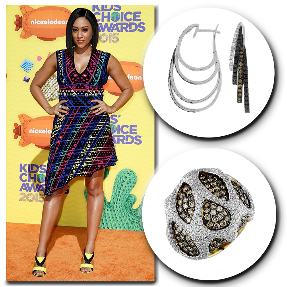 """The ever so colorful, Tia Mowry of """"Instant Mom,"""" sparkles on the orange carpet at the Kid's Choice Awards in these sparkling Royal Jewelry earrings and matching ring!"""