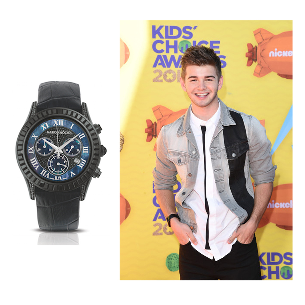 Jack Griffo completes his modern look for the Kid's Choice Awards,with aone-of-a-kind Marco Moore black leather watch!