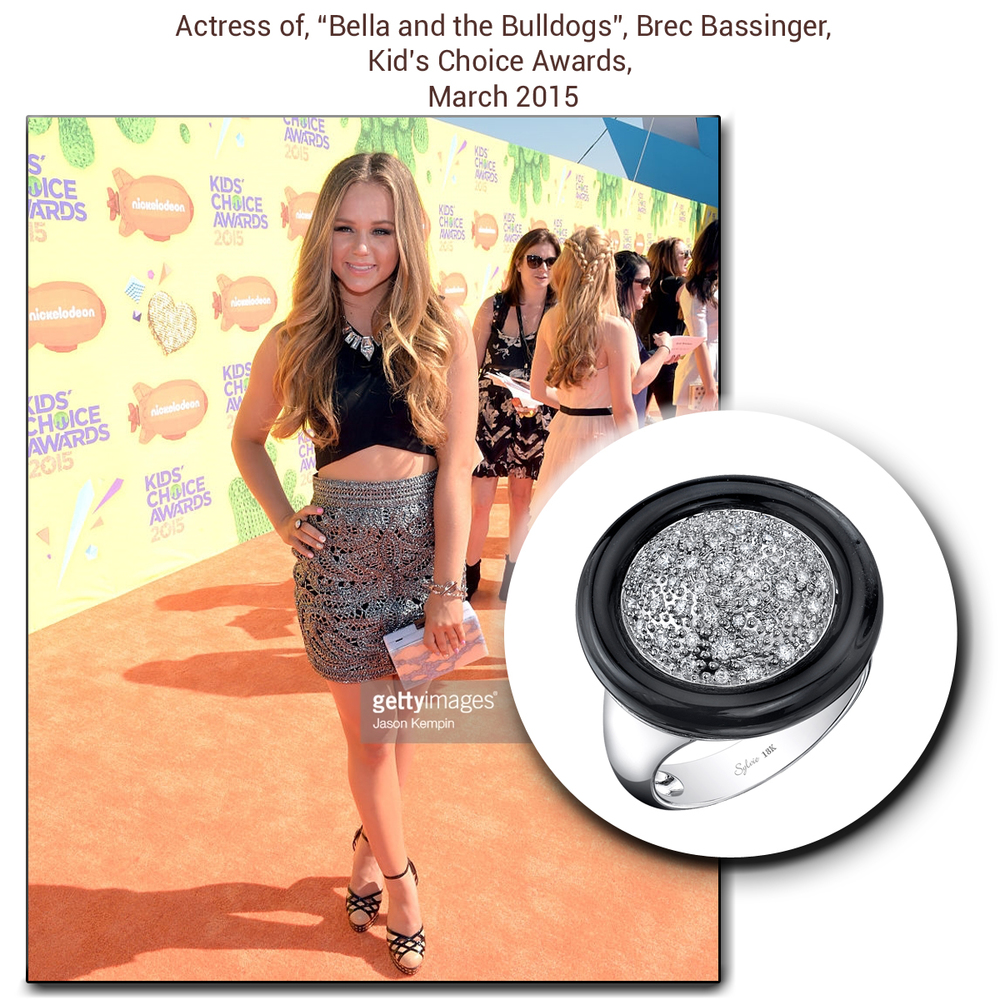 Petite and pretty, Miss Brec Bassinger looks oh so darling in a Sylvie Collection statement ring to match her trendy outfit!