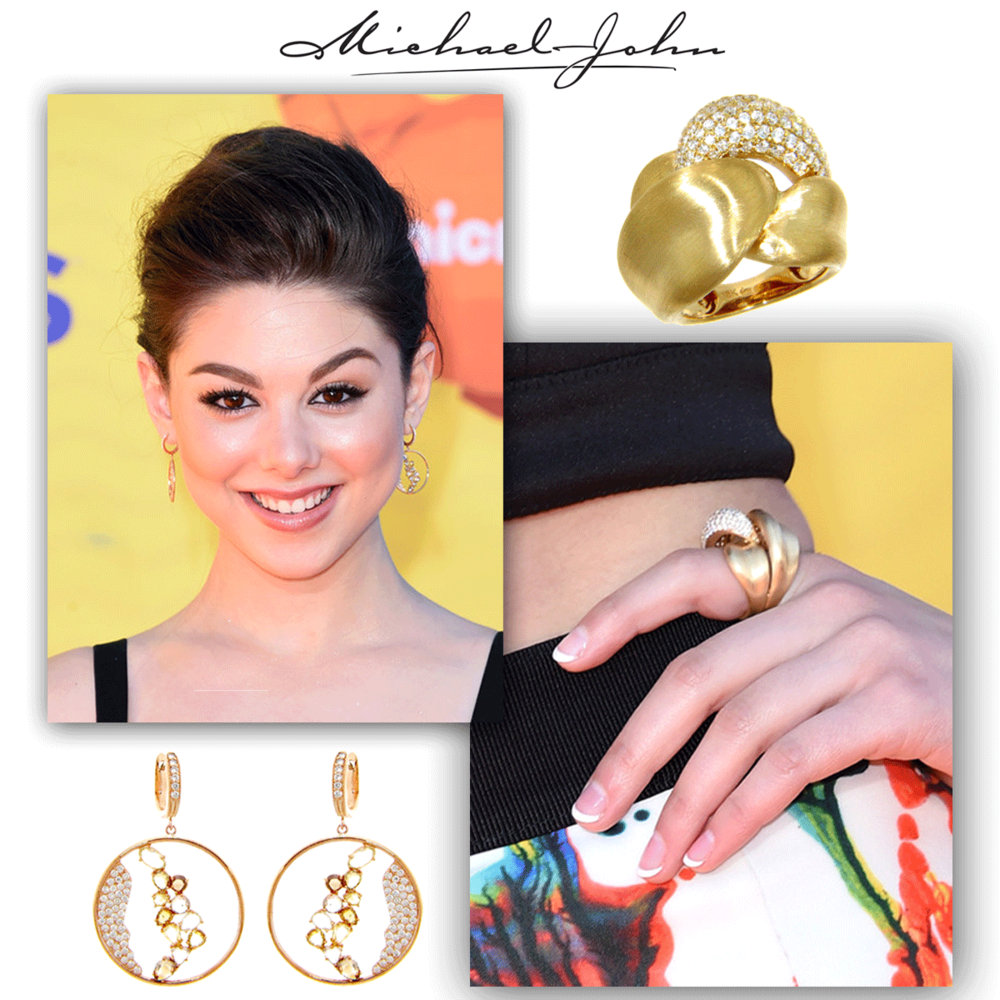 As stylish as can be, Kira Kosarin sparkles at the Kid's Choice Awards in her rose gold & diamondearringswith a matching ring, brought to you by Michael John Jewelry!