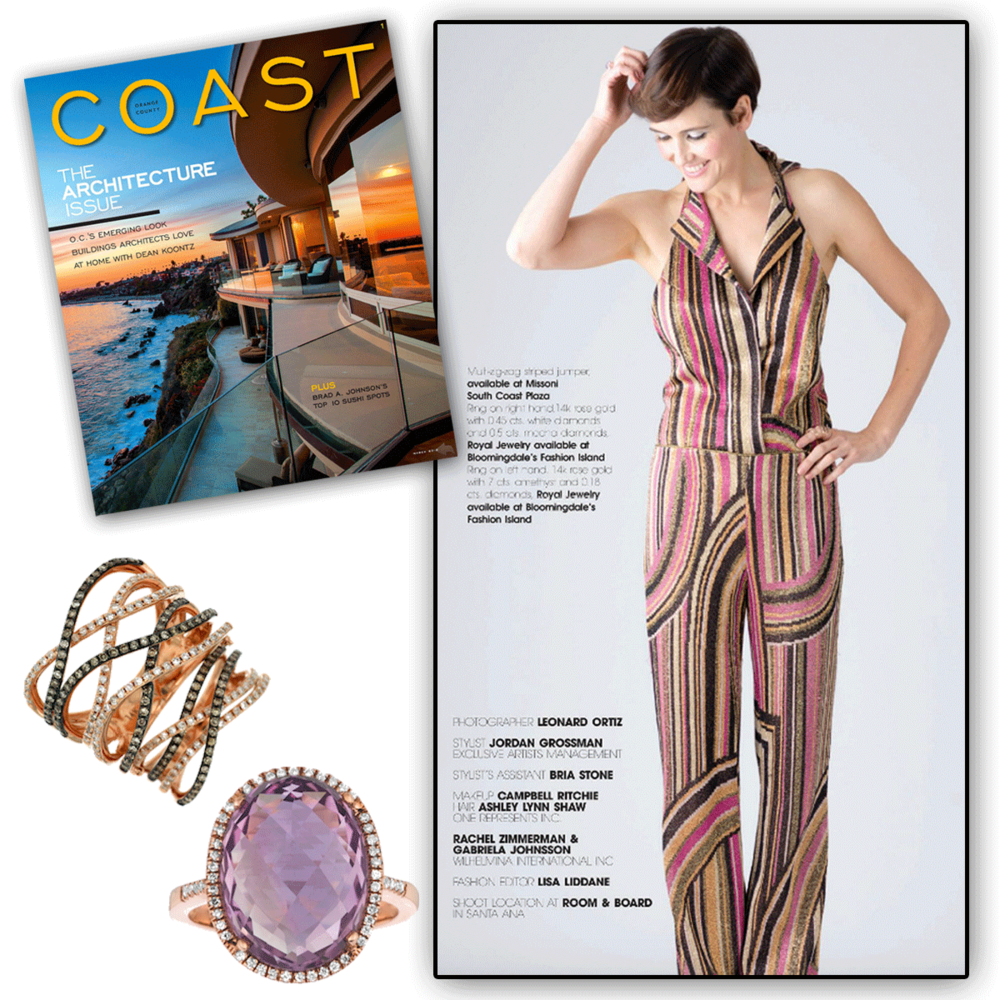 How stylish is this patterned romper for the spring and summer seasons? Thank you Coast Magazine for featuring these one-of-a-kindRoyal Jewelry statement rings to accompany such a trendy outfit!