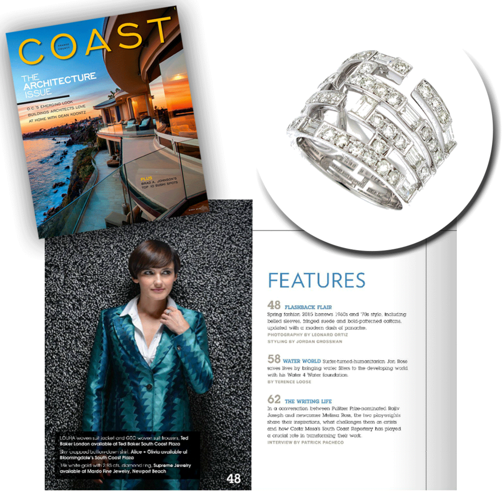 The classic blazer, with a bright and festive touch! Thank youCoast Magazinefor featuring such a gorgeous openly-spaced white gold & diamond Supreme Jewelry ring!