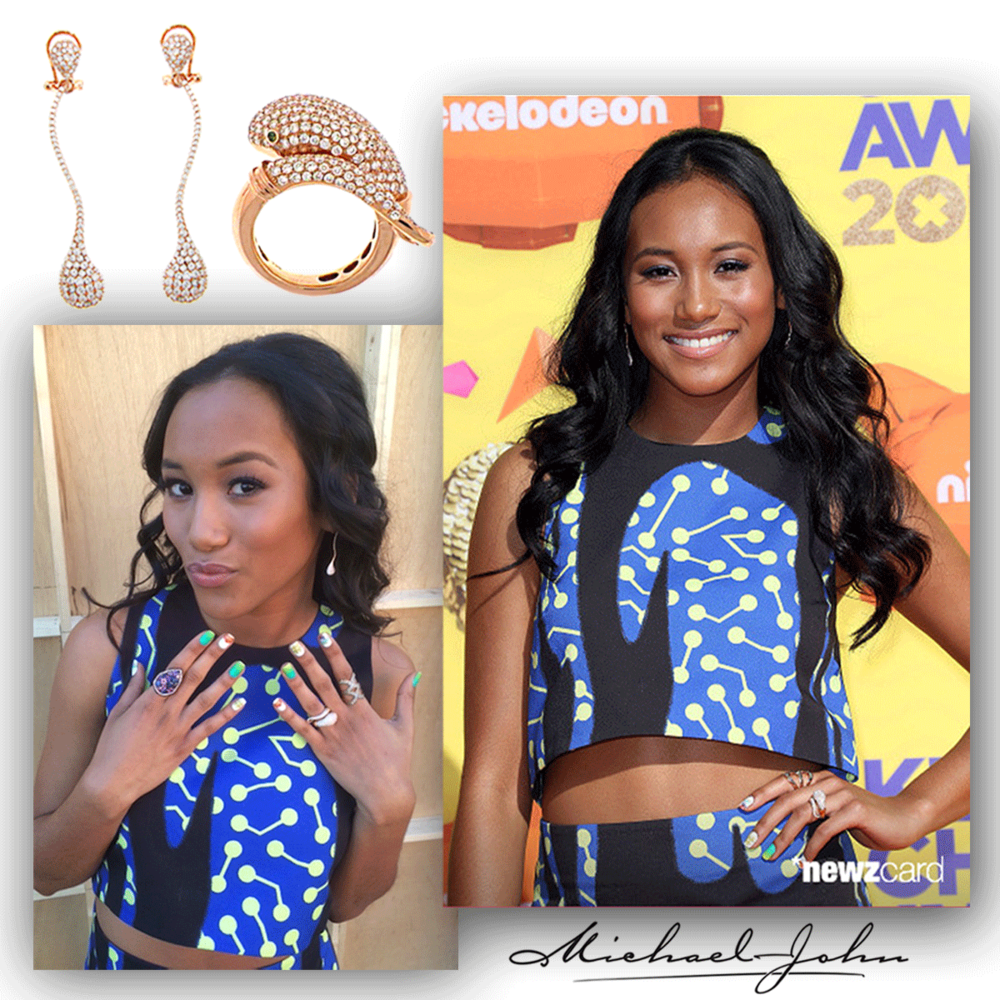 It's all about the bling! Sydney Park radiates on the orange carpet in her Michael John Jewelry rose gold earrings and matching snake ring!