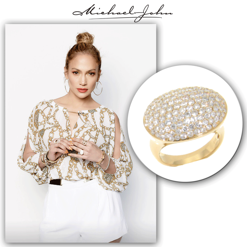 Simply stunning! J-Lo shimmers on set of American Idol in this dazzling yellow gold + diamond Michael John Jewelrycocktail ring.