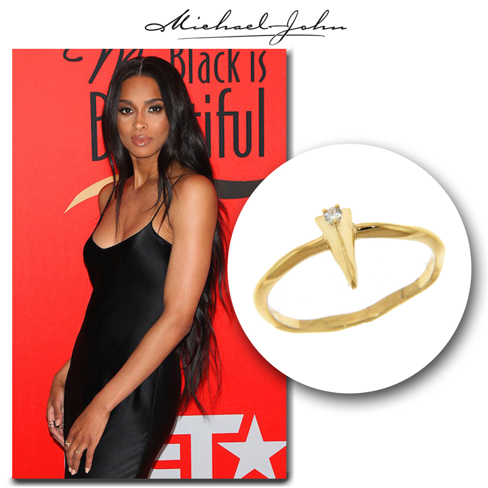 Smoking #HOT Ciara sizzles on the BET red carpet in her little black dress & matching yellow gold + diamond Michael John Jewelry ring!