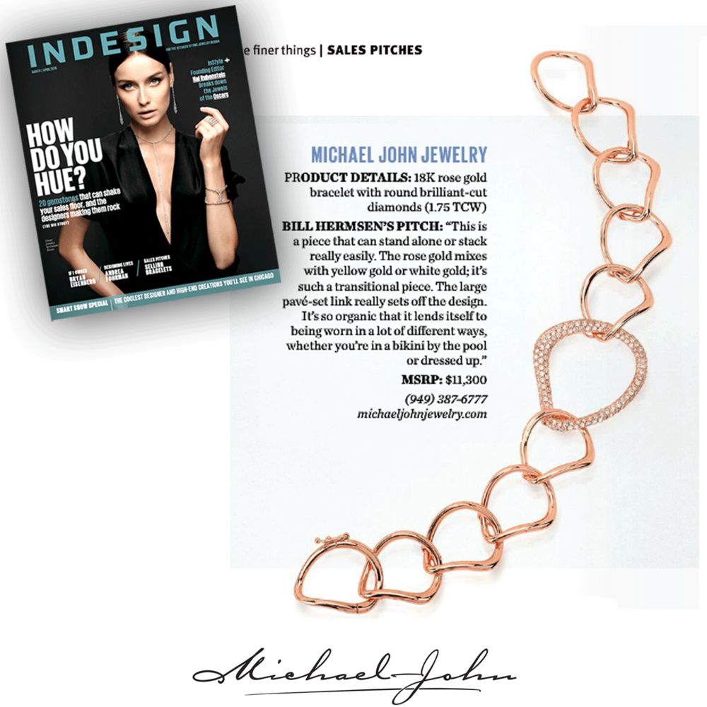Shimmer me pretty, rose gold pretty that is! Thank youINDESIGNfor featuring Michael John Jewelry'sone-of-a-kind rose gold + diamond bracelet!