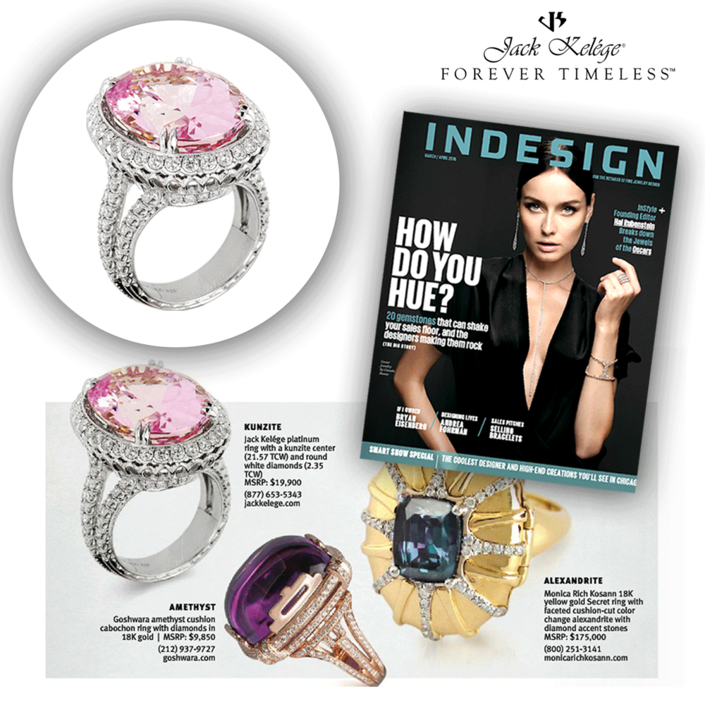 Pretty in pink! Thank youINDESIGNfor featuring a dazzling Jack Kelege platinum ring, with a blushing pink kunzite center stone!