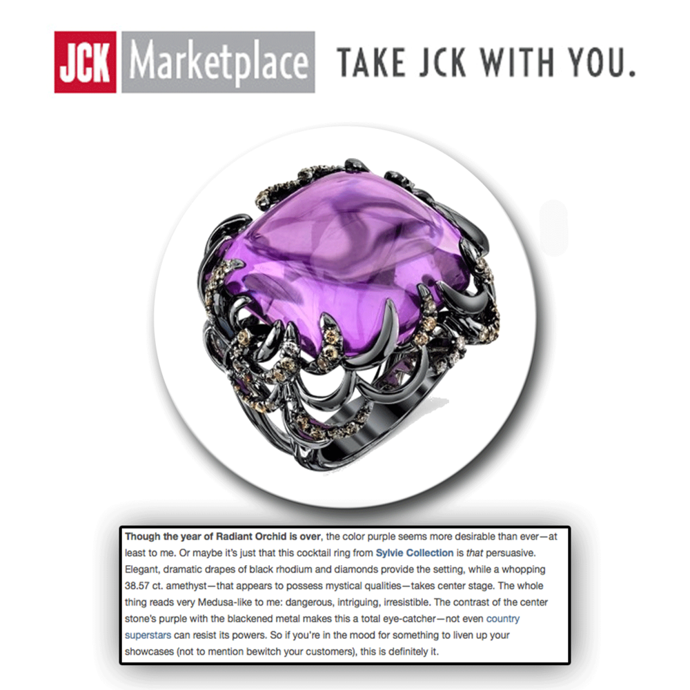 Outrageously purple! Thank youJCK Marketplacefor featuring this big, bold Sylvie Collection statement ring, intricately crafted with a 38.57-carat amethyst center stone.
